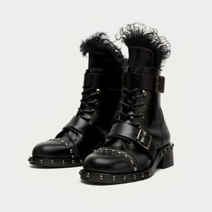 RARE Flat Leather Ankle Boots with Studs